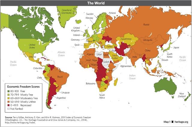 מפת החופש הכלכלי בעולם (מקור: heritage.org)