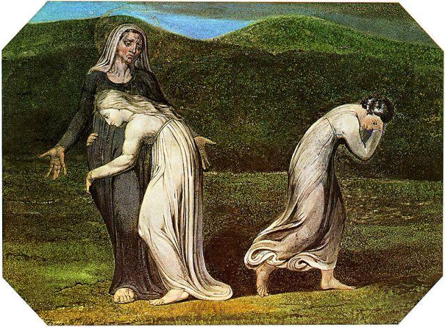 רות דבקה בנעמי בעוד עורפה הולכת, ציור מאת ויליאם בלייק