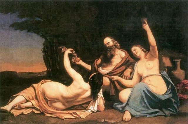 לוט ובנותיו, ציור שמן על בד מעשה ידי גוסטב קורבה משנת 1844