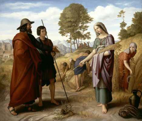 """""""רות בשדה בעז"""", ציור מאת Julius Schnorr von Carolsfeld משנת 1828"""