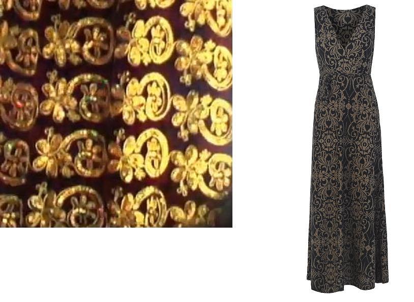 """משמאל: רקמת ברוקאד צרפתית של חוטי זהב מתקופת הרנסאנס. מימין: תרגום מודרני בדמות שמלת """"רקפת"""" של """"העין השלישית"""" קולקציית חורף 2014, צילום: אסקף ועומר"""