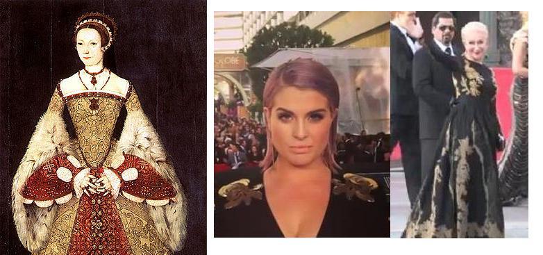 מאשתו האחרונה של הנרי השמיני ועד מלכות הסטייל של היום. מימין: הלן מירן בטקס פרסי איגוד השחקנים 2014, בשמלה של אסקדה. מרכז: קלי אוסבורן בטקס פרסי גלובוס הזהב 2014. משמאל: קתרין פאר- 1544 (ויקימדיה)