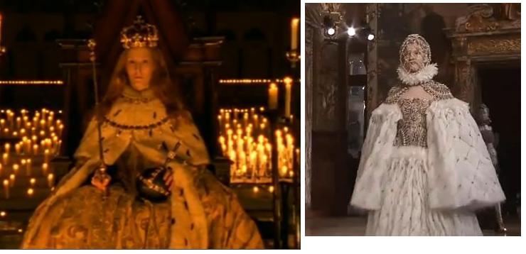 """דמותה של אליזבת הראשונה כהשראה לתצוגה של """"אלכסנדר מקווין"""": שמלה מעוטרת זהב ושכמייה פרוותית לבנה."""