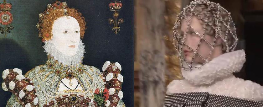 """שובו של הצווארון המסולסל. מימין: דגם מתצוגת """"אלכסנדר מקווין"""" סתיו/חורף 2013. משמאל: אליזבת הראשונה 1575 (ויקימדיה)"""