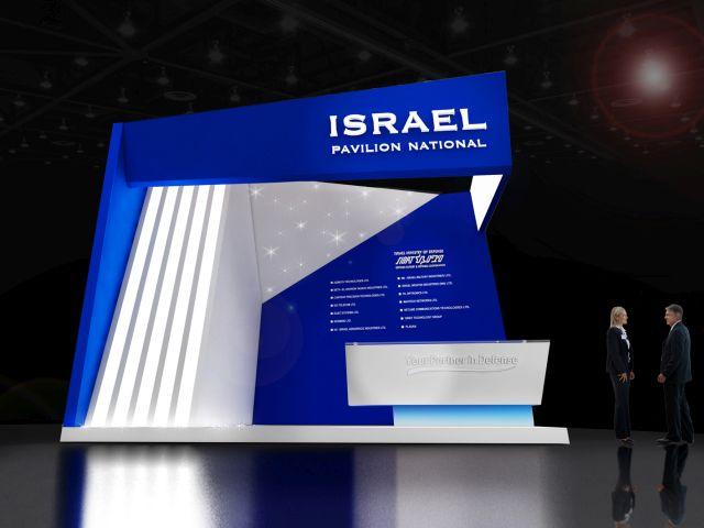 """כניסה לביתן הישראלי בתערוכה, המאורגן על ידי סיב""""ט, האגף לייצוא ביטחוני במשרד הביטחון"""
