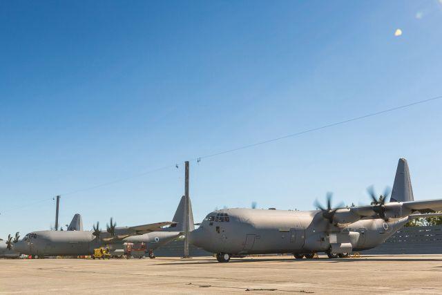 שני סופר הרקולס C-130J ישראלים בעמדת החנייה במרייטה ארה