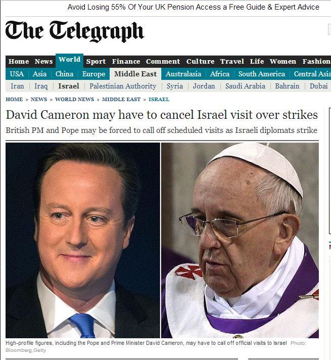 """הידיעה ב""""טלגרף"""" הבריטי על ביטול ביקורם של קמרון והאפיפיור"""