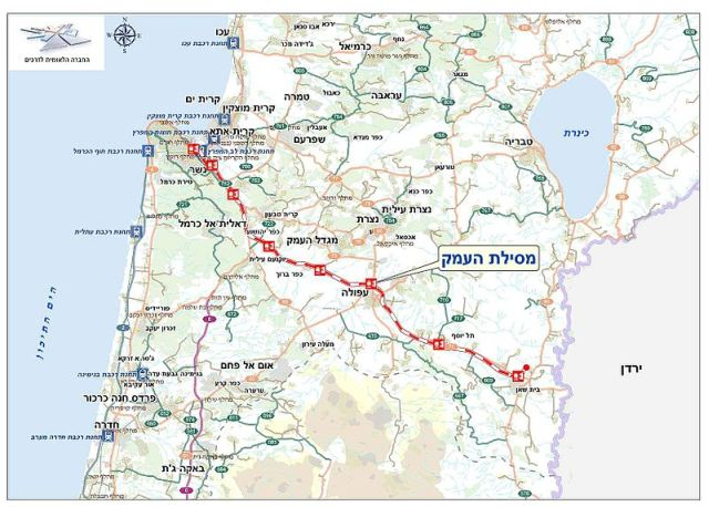 הקו המתוכנן של רכבת העמק החדשה