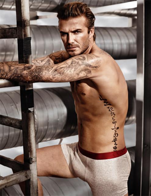 דיוויד בקהאם בצילום סטילס מתוך סרטון הוידאו של פרומת הסופרבול של H&M. התחתונים למכירה. צילום: H&M