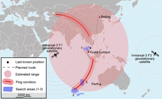 החיפושים אחר המטוס המלזי: 1) 8-20 במרץ, 2) 20-27 במרץ, 3) 28 במרץ (מקור: ויקימדיה)