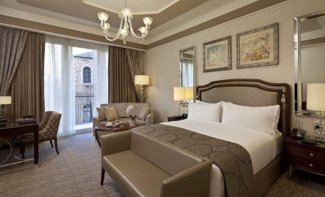 חדר דה לקס בוולדורף אסטוריה ירושלים. המלון ייפתח במלואו במאי