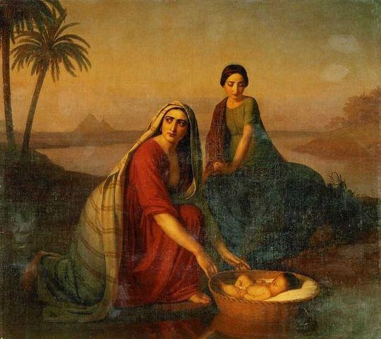 יוכבד ומרים מחביאות את משה בתיבה בין קני הסוף (אלכסיי טיראנוב, 1839)