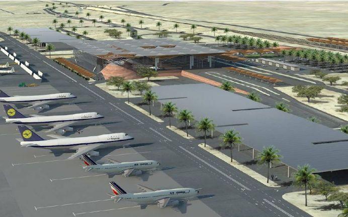 """הדמיה של נמל התעופה ע""""ש אילן ואסף רמון בתמנה. צילום: אתר משרד התחבורה"""