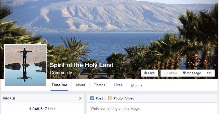 דף הפייסבוק האוונגלי באנגלית של משרד התיירות