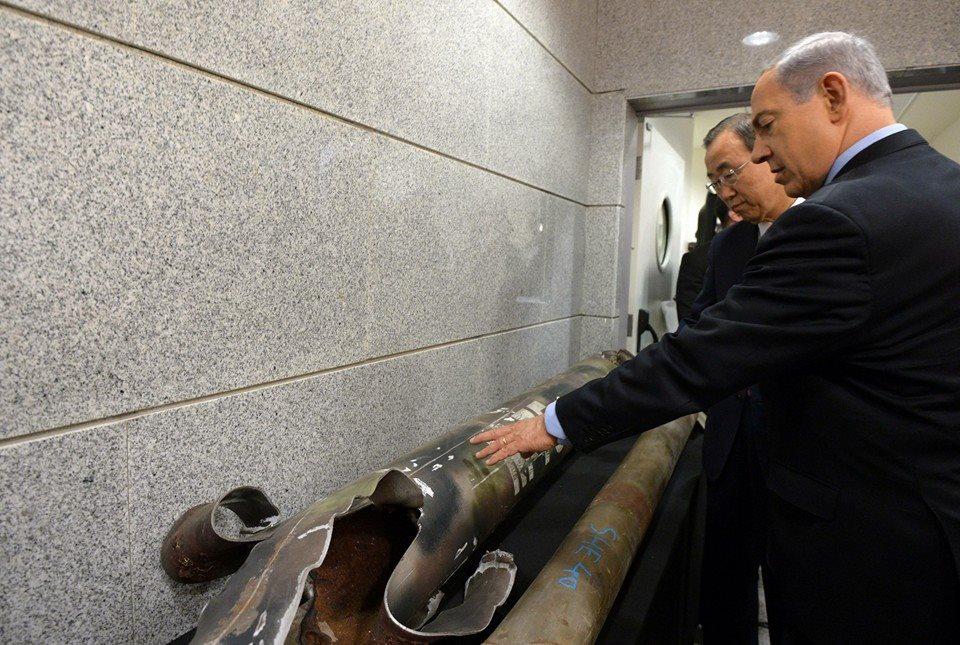 """שרידי הרקטות מוצגים למזכ""""ל האו""""ם (צילום: חיים צח/לע""""מ)"""