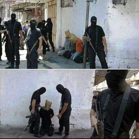חיסול חשודים בקרן רחוב בידי החמאס  (צילום מתוך חשבון טוויטר)