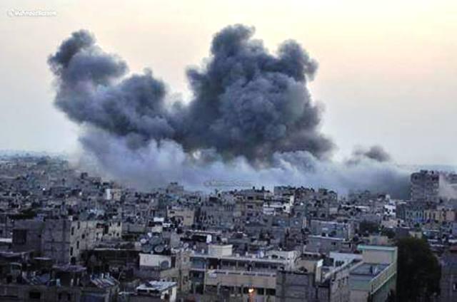 תקיפות בעזה הבוקר (צילום: Gaza now)