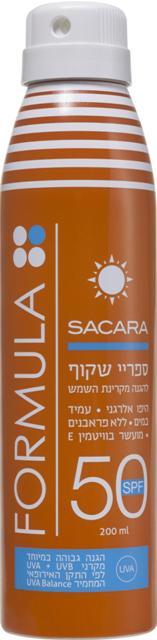 ספריי הגנה SPF 50 מרשת Sacara