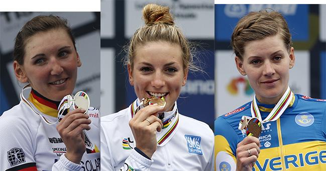 מימין לשמאל: אמה ג'והנסון (שבדיה) - ארד; פאולין פראן-פרבו (צרפת)- זהב - אלופת העולם 2014; ליסה ברנאואר (גרמניה) - כסף. צילומים: Javier Lizón/EFE