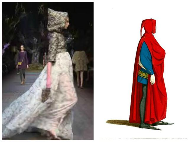 """מימין: לבוש מסורתי לגבר, צרפת של ימי הביניים (וויקימדיה). שמאל: דגם מהתצוגה של """"דולצ'ה וגבאנה"""" לסתיו/חורף 2015"""