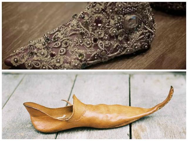 נעל גברית שנלבשה באירופה בימי הביניים (ויקימדיה). למעלה: גרסת נעלי אבירים של דולצ'ה וגבאנה- נעל שטוחה רקומה ומעוטרת אבני חן