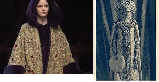 """מראה הנסיכה הרוסייה של חורף 2015: מימין - הנסיכה קסניה אלכסנדרובה רומאנובה (1903) בלבוש רוסי מסורתי (ויקימדיה); משמאל - דוגמנית מתצוגת """"דולצ'ה וגבאנה"""" סתיו/חורף 2015"""