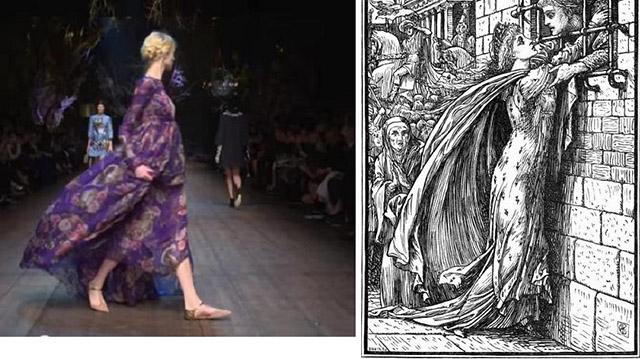 """המראה הרומנטי - מאגדות עם למסלול התצוגות. מימין: אילוסטרציה מ-1880מאת וולטר קריין לאגדה """"The Heart of Princess Joan"""" (ויקימדיה). משמאל: שמלת שיפון פרחונית וצמות אסופות מתצוגת סתיו/חורף 2015 של """"דולצ'ה וגבאנה"""""""