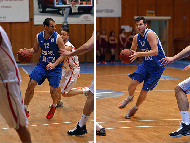 גיא פניני (10) ויותם הלפרין (12) במשחק נגד בולגריה. צילום: FIBA Europe / BFB