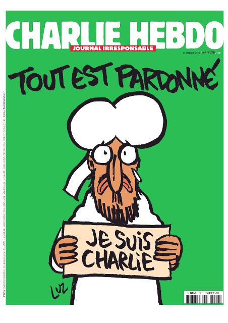 """""""גם אני שארלי הבדו"""", שער הגיליון המיוחד של Charlie Hebdo"""