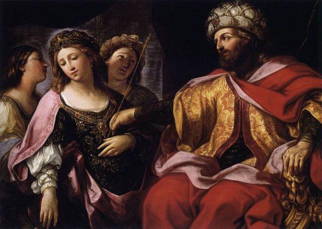 וגם מגילת אסתר הייתה שם (אסתר ואחשוורוש בציור של אנדראה סיראני / מקור ויקימדיה)