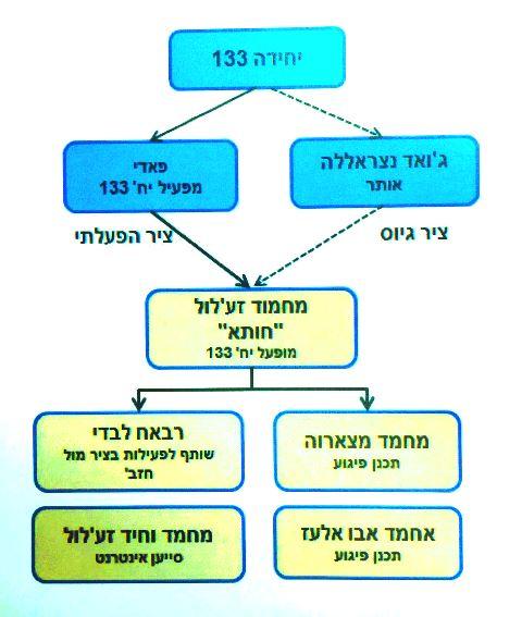 """תרשים זרימה של החוליה ומפעיליה (באדיבות תקשורת שב""""כ)"""