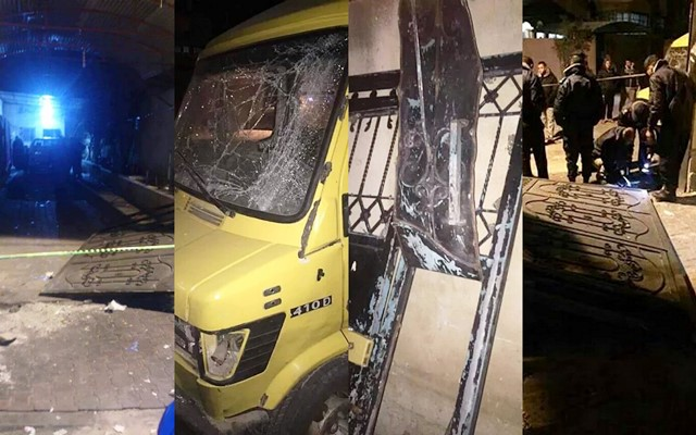 הנזק שגרם לבית ולסביבה (צילום תקשורת פלסטינית)