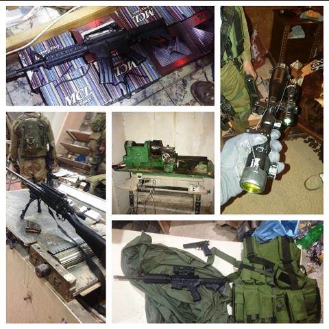 """כלי הנשק והאמל""""ח שנתפס (צילום: דובר צה""""ל)"""