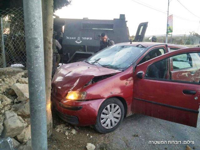 רכב המחבל (צילום: דוברות המשטרה)
