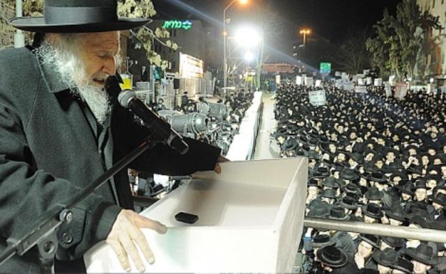 הרב שמואל איורבעך (צילום מהפגנה קודמת)