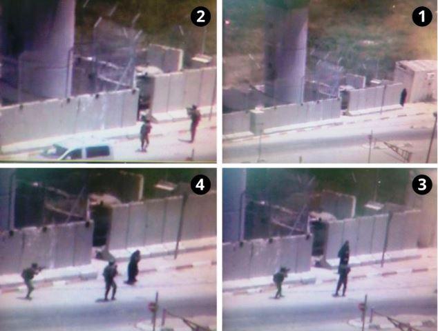 מחסום עינב:  יורים בה ללא הרף גם לאחר שנורתה ונפלה (צילום מצלמות האבטחה)