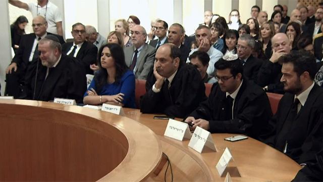 """פסק הדין האחרון בנוכחות אישים ובכירים  בטקס הפרידה מנאור (צילום לע""""מ)"""