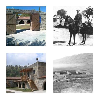 מימין לשמאל בכיוון השעון: טרומפלדור על סוסו, תל חי בתחילתה, המדרגות עליהן נורה טרומפלדור, כניסה לחצר תל חי (צילומים: מוזיאון תל חי)