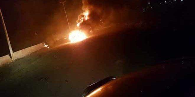 אש שפרצה מפגיעת טיל ישראלי (צילום SANA סוכנװת הידיעות הרשמית של סוריה)