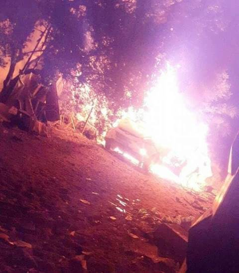 הרכב שהותקף במחנה הפליטים נוסיראת (צילום: תקשורת פלסטינית)