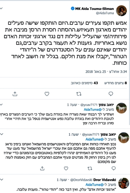 צילום חשבון הטוויטר של חברת הכנסת האיומים והגידופים