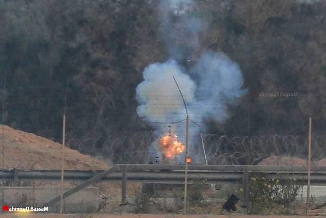 פיצוץ הגדר (צילון: תקשורת פלסטינית)