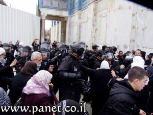 עימותים בין מפגינים לכוחות מיוחדים של המשטרה בהר-הבית, מוקדם יותר היום (צילום: Panet)