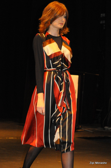 שמלה בהדפס פסים עם וולנים של Racheliz