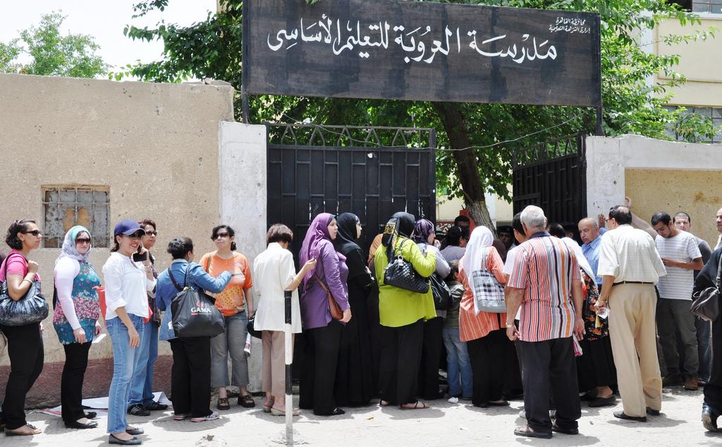 תור בכניסה לאחת הקלפיות בקהיר (UN Women/Fatma El Zahraa Yassin)