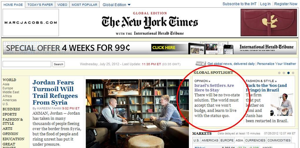 """מאמר של דני דיין בניו יורק טיימס, היום (צילום: מועצת יש""""ע)"""