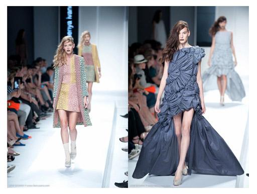מימין: שמלה בעיצוב Li Xiaotong. משמאל: שמלה בעיצוב Ksenya Ivanovskaya. צילום: ליאור סוסנה