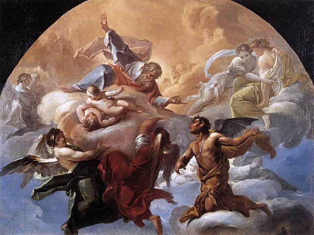 """""""השטן בפני אלוהים"""", מאת קוראדו ג'יאקווינטו, 1750, מוזיאון הוותיקן (ויקימדיה)"""