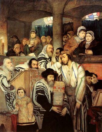 מתפללים בבית הכנסת ביום כיפור, ציור של מאוריציו גוטליב
