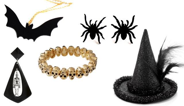 """כובע - אקססורייז; עגילי עכביש צמודים ושרשרת עטלף - בארוניקא, מסדרת תכשיטי החיות; צמיד גולגלות ועגילי שלד - ASOS. צילומים: יח""""ץ ויח""""ץ חו""""ל"""